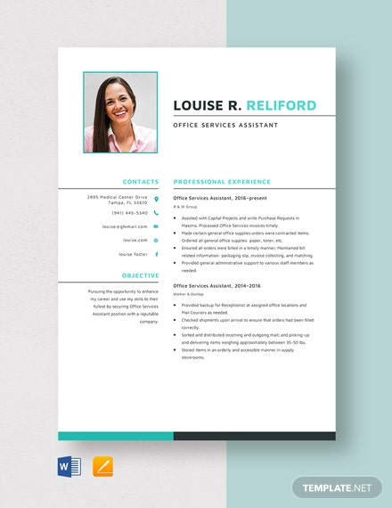 Office Services Assistant Resume Template