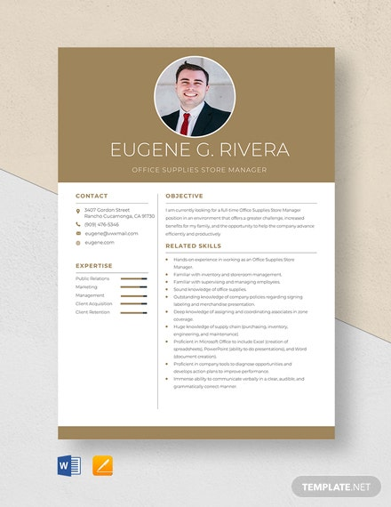Office Supplies Store Manager Resume Template