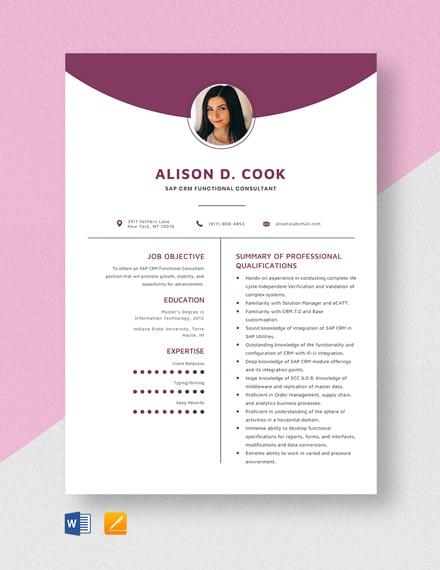 SAP CRM Functional Consultant Resume