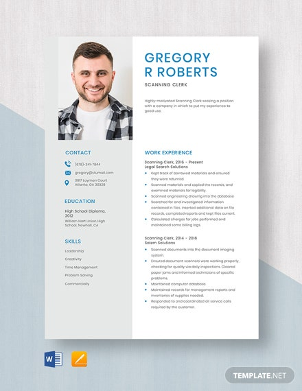 Scanning Clerk Resume Template