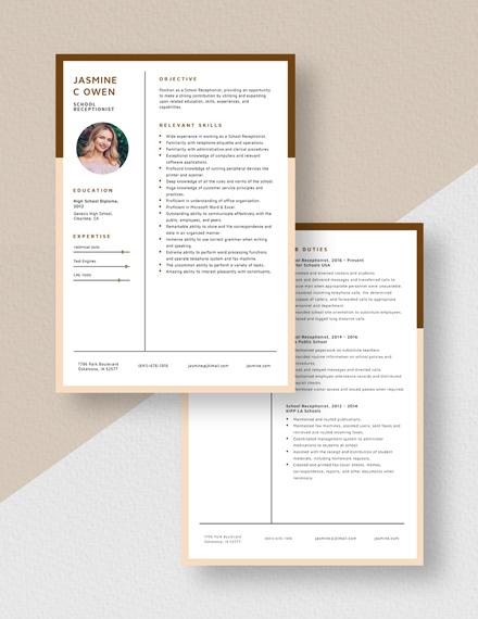 School Receptionist Resume Download