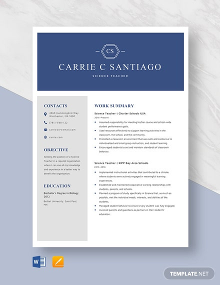 Science Teacher Resume Template