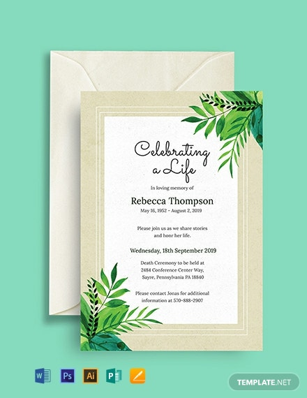 Free Death Ceremony Invitation Template