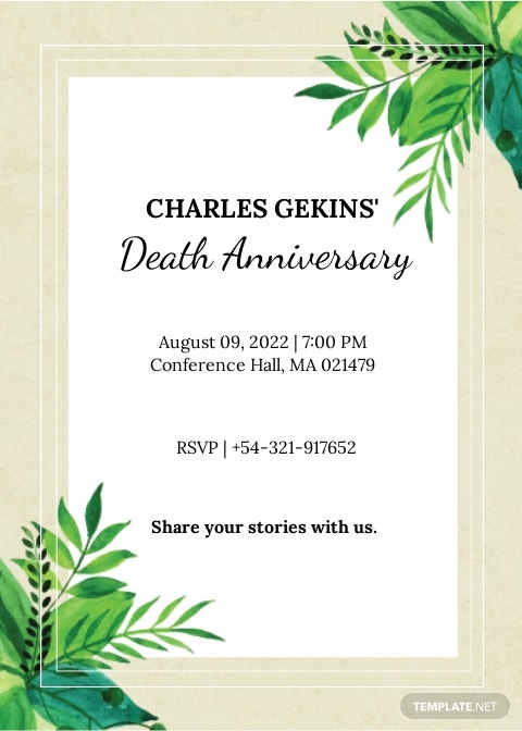 Death Ceremony Invitation Template