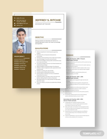 Secondary Art Teacher Resume Download