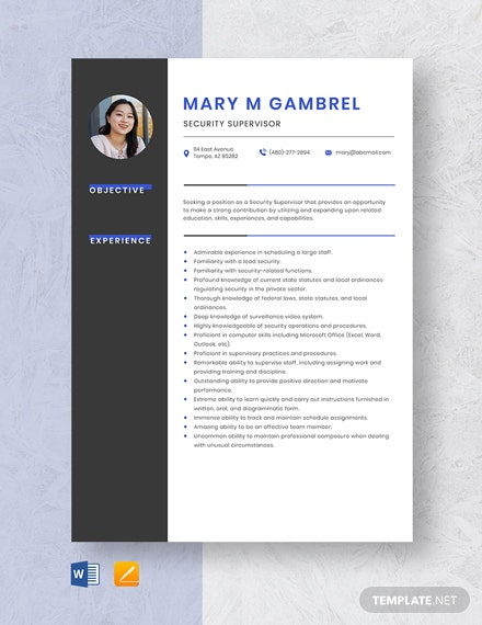 Security Supervisor Resume Template