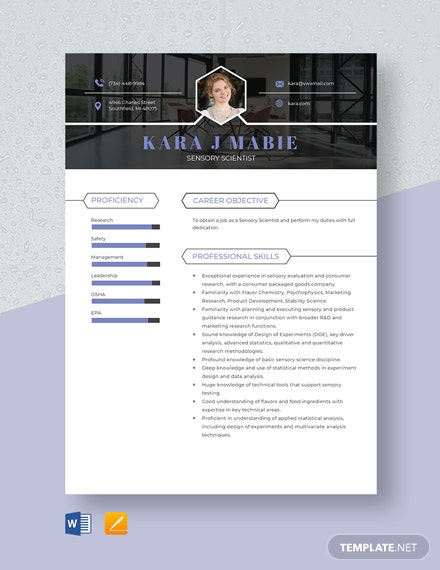 Sensory Scientist Resume Template