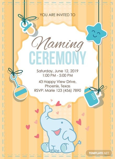 Elegant Naming Ceremony Invitation Template