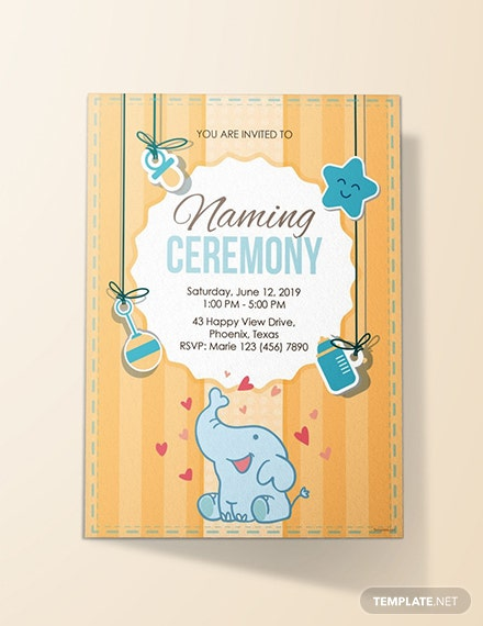 free elegant naming ceremony invitation template  download