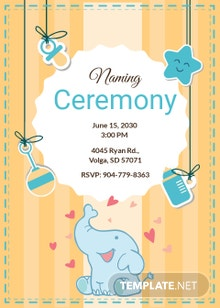 Free Elegant Naming Ceremony Invitation Template