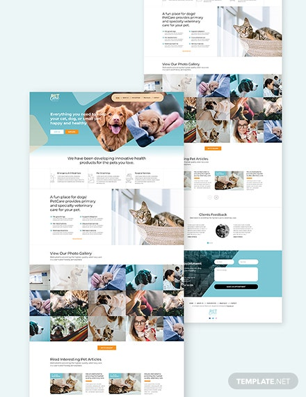 Pet Care Bootstrap Landing Page Download