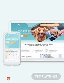 Pet Care Bootstrap Landing Page Template