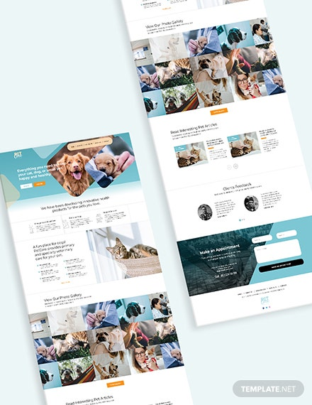 Sample Pet Care Bootstrap Landing Page