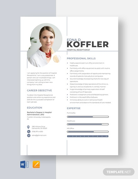 Hospital Receptionist Resume Template