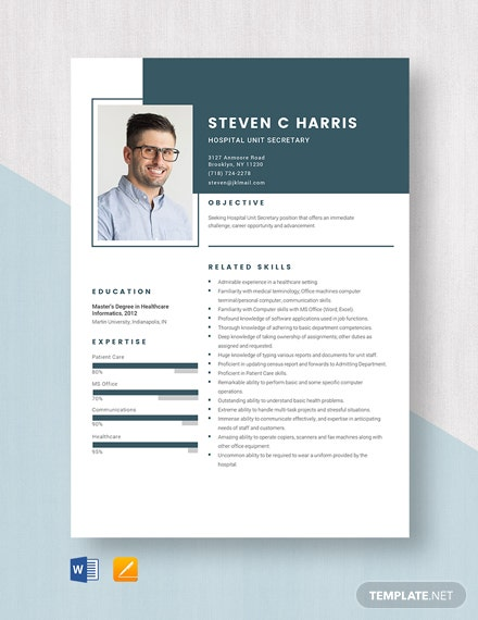 Hospital Unit Secretary Resume Template