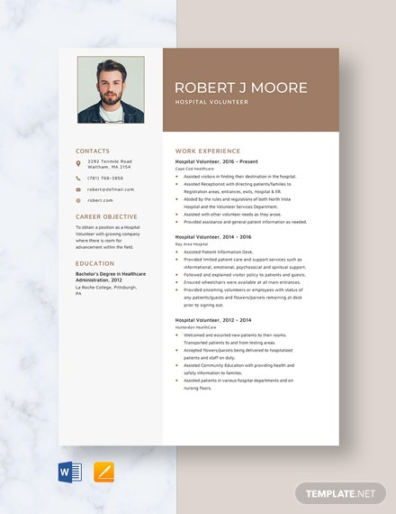 Hospital Volunteer Resume Template