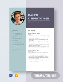 Hot Shot Driver Resume Template