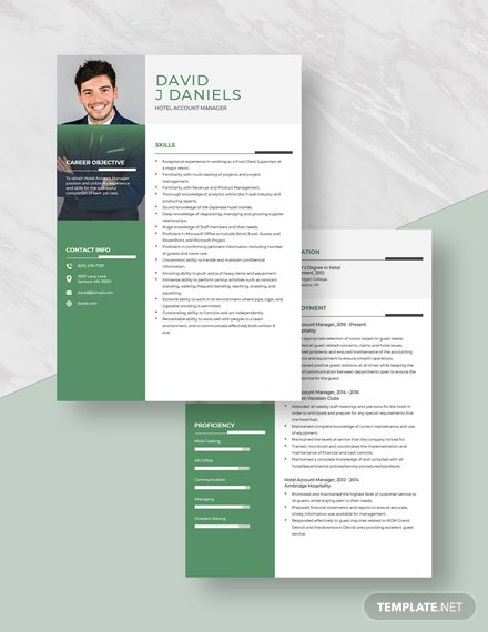 Hotel Account Manager Resume Download