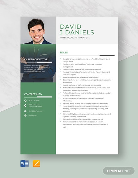 Hotel Account Manager Resume Template