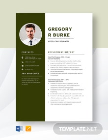 Hotel Chief Engineer Resume Template