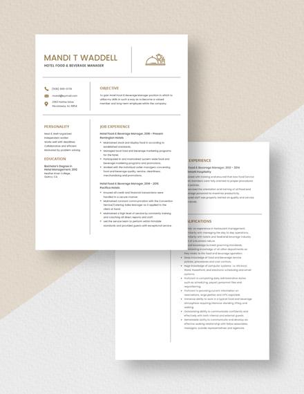 Hotel Food  Beverage Manager Resume Download