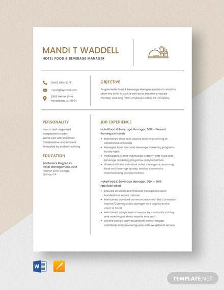 Hotel Food & Beverage Manager Resume Template