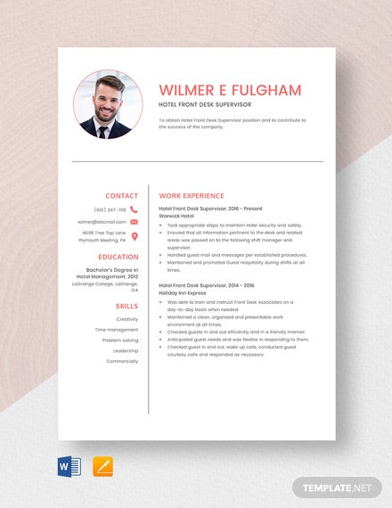 Hotel Front Desk Supervisor Resume Template