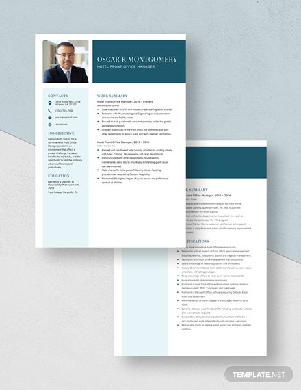 Hotel Front Office Manager Resume Download