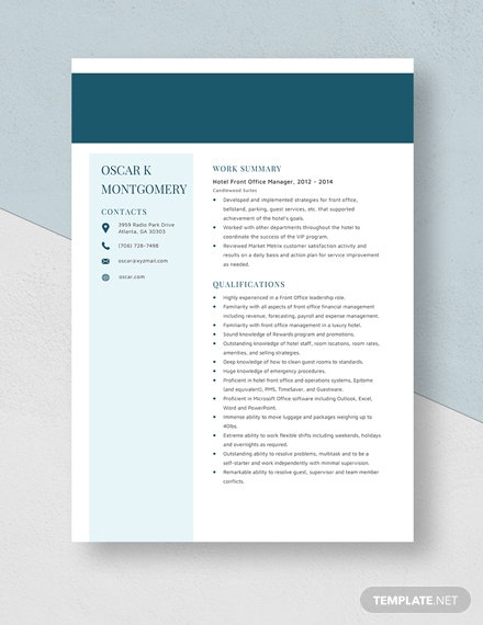 Hotel Front Office Manager Resume Template