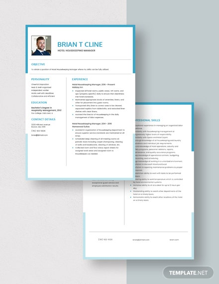 Hotel Housekeeping Manager Resume Download