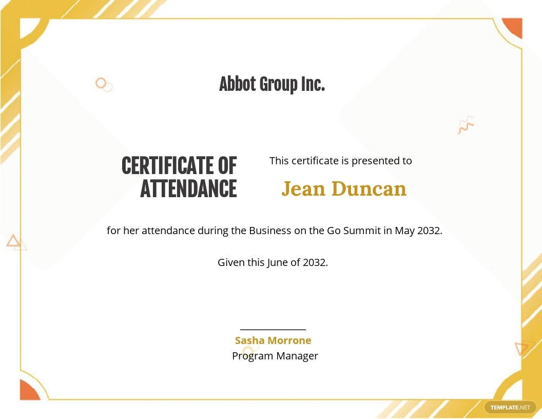 Printable Certificate Of Attendance Template