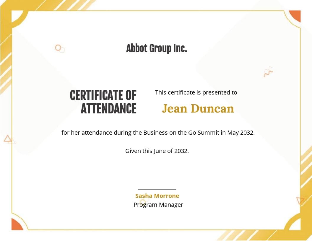 Printable Certificate Of Attendance Template.jpe