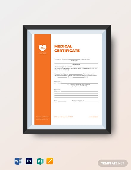 printable medical certificate template