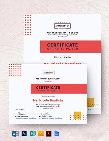Program Participation Certificate Template