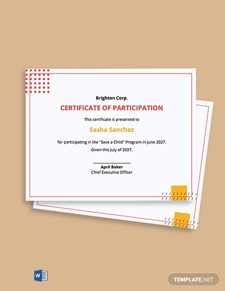 Program Participation Certificate Template