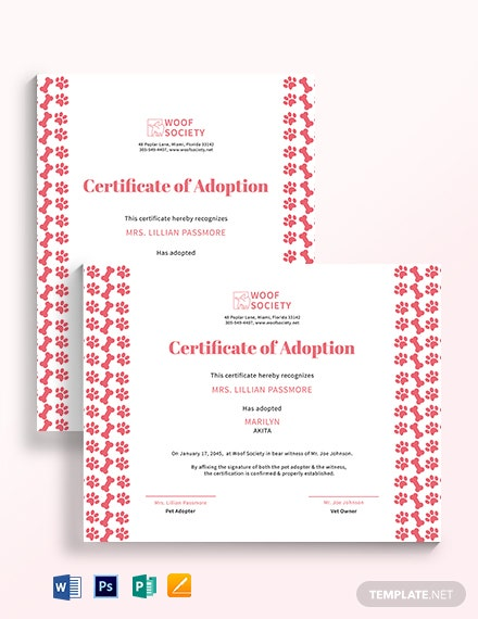 puppy adoption certificate template