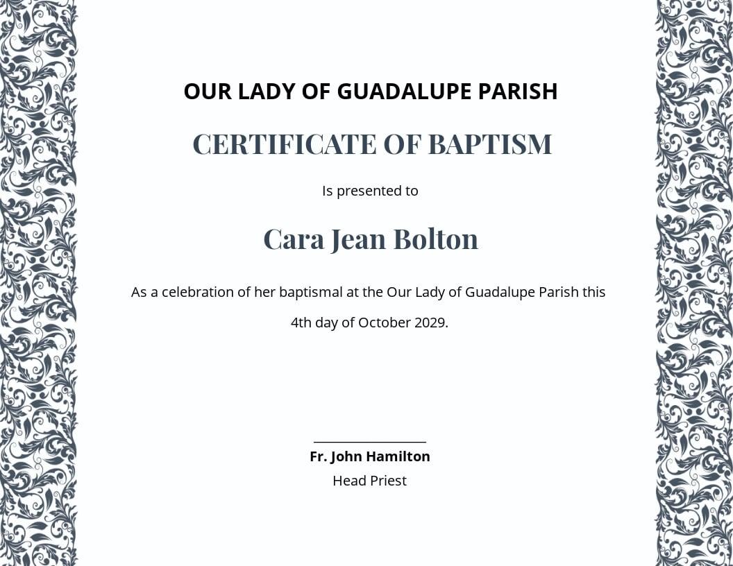 Roman Catholic Baptism Certificate Template.jpe