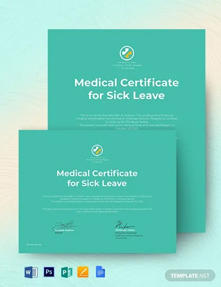School/ College Leave Medical Certificate Template From Doctor
