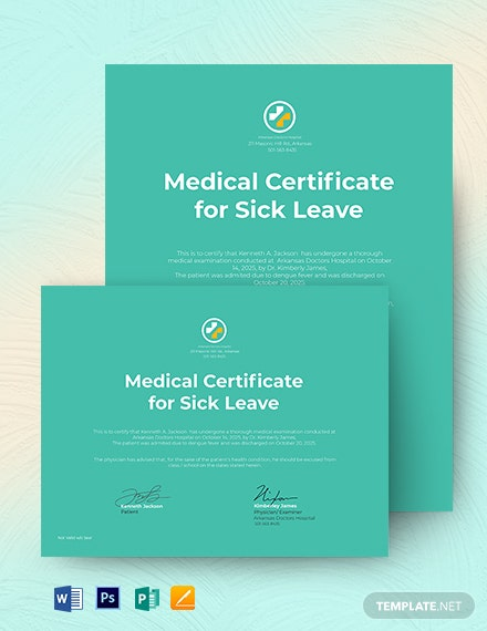 school college leave medical certificate template from doctor