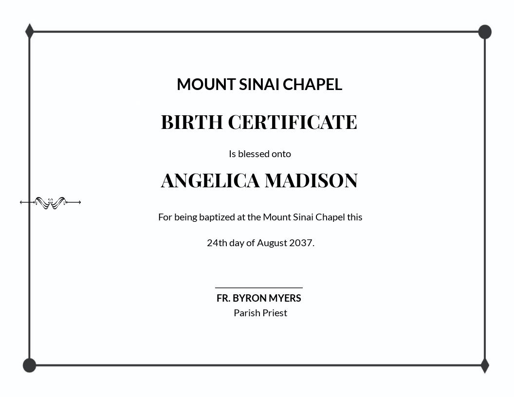 Simple Baptism Certificate Template