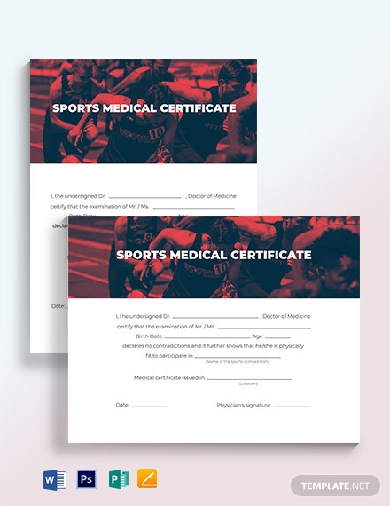 Sport Medical Certificate Template
