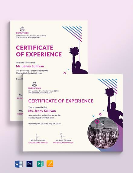 Sports Cheerleading Certificate Template
