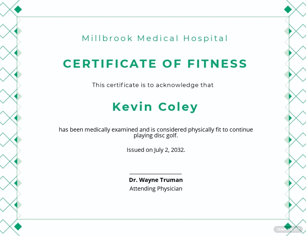 Sports Fitness Certificate Template