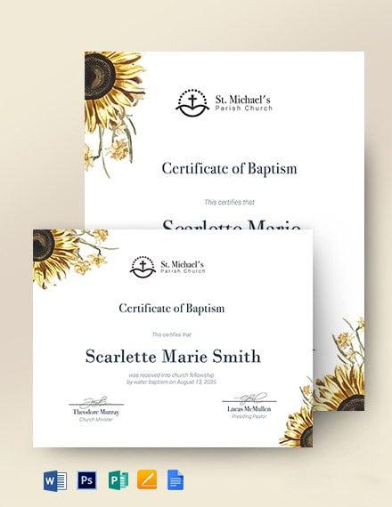 Sunflower Baptism Certificate Template