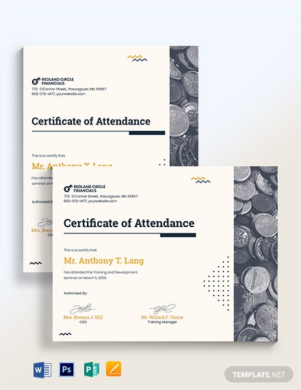 Training Attendance Certificate Template