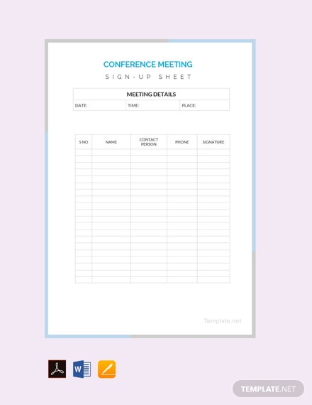 free conference sign up sheet template download 239 sheets in word