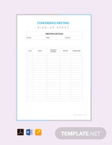 Free Conference Sign Up Sheet Template