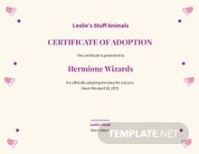 Unicorn Adoption Certificate Template
