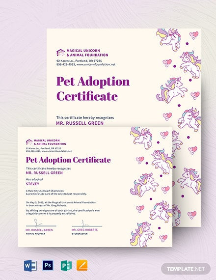Unicorn Adoption Certificate Template