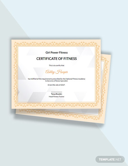 Women Fitness Certificate Template